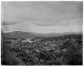 view [Miscellaneous Sites in the Adirondack Mountains]: bird's-eye view of the village of Saranac Lake. digital asset: [Miscellaneous Sites in the Adirondack Mountains] [glass negative]: bird's-eye view of the village of Saranac Lake.