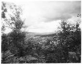 view [Miscellaneous Sites in the Adirondack Mountains]: bird's-eye view through trees of the village of Saranac Lake. digital asset: [Miscellaneous Sites in the Adirondack Mountains] [glass negatives]: bird's-eye view through trees of the village of Saranac Lake.