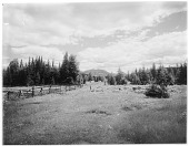 view [Miscellaneous Sites in the Adirondack Mountains]: view from near Saranac Lake looking toward Mt. McKenzie (center) and Haystack Mountain (right, partially obscured by tree). digital asset: [Miscellaneous Sites in the Adirondack Mountains] [glass negative]: view from near Saranac Lake looking toward Mt. McKenzie (center) and Haystack Mountain (right, partially obscured by tree).