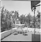 view [Gaines Garden]: seating area. digital asset: [Gaines Garden] [contact print and safety film negative]: seating area.