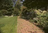 view [Avondale Farm]: perennial garden with brick walk with white azaleas. digital asset: [Avondale Farm]: perennial garden with brick walk with white azaleas.: 2003 Jun.