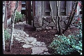 view [Oregon Dental Association]: stone wall and walkway. digital asset: [Oregon Dental Association]: stone wall and walkway.: 1997.