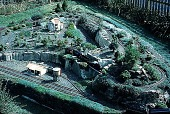 view [Hieronimus Garden]: train garden from above with buildings in place. digital asset: [Hieronimus Garden]: train garden from above with buildings in place.: 1994 Sep.