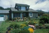 view [Untitled Garden in Arch Cape, Oregon]: house front from west. digital asset: [Untitled Garden in Arch Cape, Oregon]: house front from west.: 2000 Jun.