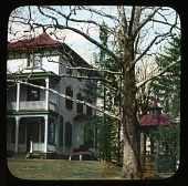 view [Breeze Hill]: house; tree; gazebo. digital asset: [Breeze Hill] [lantern slide] house; tree; gazebo.
