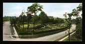 view [Breeze Hill]: elevated view of garden and pathway. digital asset: [Breeze Hill] [lantern slide]: elevated view of garden and pathway.