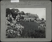 view Unidentified Garden in Reading, Pennsylvania: Colonial Revival house with lawns and flowering mock orange shrubs. digital asset: Unidentified Garden in Reading, Pennsylvania [photographic print]: Colonial Revival house with lawns and flowering mock orange shrubs.