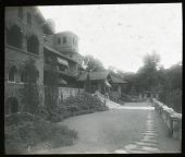 view [Walmarthon]: the house and its terraced garden. digital asset: [Walmarthon] [lantern slide]: the house and its terraced garden.