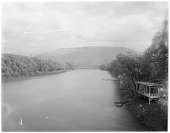 view [Miscellaneous Sites in Reading, Pennsylvania]: the Schuylkill River, with Neversink Mountain in the distance. digital asset: [Miscellaneous Sites in Reading, Pennsylvania] [glass negative]: the Schuylkill River, with Neversink Mountain in the distance.