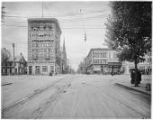 view [Miscellaneous Sites in Reading, Pennsylvania]: looking north from the southside of the intersection of 5th and Penn, with the Colonial Trust Building (1901) dominating left center and the old Farmer's National Bank Building (1763-1925) to its left. digital asset: [Miscellaneous Sites in Reading, Pennsylvania] [glass negative]: looking north from the southside of the intersection of 5th and Penn, with the Colonial Trust Building (1901) dominating left center [...]
