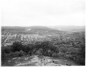 view [Miscellaneous Sites in Reading, Pennsylvania]: a view into East Reading toward Neversink Mountain, taken from Mt. Penn at the site of the present-day Pagoda. digital asset: [Miscellaneous Sites in Reading, Pennsylvania] [glass negative]: a view into East Reading toward Neversink Mountain, taken from Mt. Penn at the site of the present-day Pagoda.