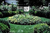 view [Hidden Glen Farms]: detail of garden center planting with sundial (southwest). digital asset: [Hidden Glen Farms]: detail of garden center planting with sundial (southwest).: 1998 Jul.