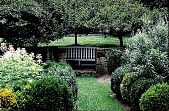 view [Hidden Glen Farms]: detail view of arbor seating area with colonial bench in place (northwest). digital asset: [Hidden Glen Farms]: detail view of arbor seating area with colonial bench in place (northwest).: 1998 Jul.