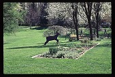 view [Hidden Glen]: view of left side of perennial border with deer folk art ornament. digital asset: [Hidden Glen]: view of left side of perennial border with deer folk art ornament.: 1998 Apr.