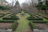 view [Druim Moir]: View of the geometric designs of the buxus, boxwood hedges, and flower beds, with castle to the left. digital asset: [Druim Moir]: View of the geometric designs of the buxus, boxwood hedges, and flower beds, with castle to the left.: 2018 December 12