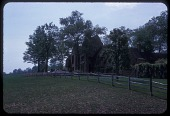 view [McLean Garden in unidentified city in Pennsylvania]: luncheon held outside stone house; split rail wooden fence. digital asset: [McLean Garden in unidentified city in Pennsylvania]: luncheon held outside stone house; split rail wooden fence.: 1963 May.