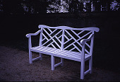 view [Rochambeau House]: a French-style garden bench, restored in 2000. digital asset: [Rochambeau House]: a French-style garden bench, restored in 2000.: 2000 May.