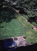 view [Rochambeau House]: a diagonal view of the west garden and terrace from above. digital asset: [Rochambeau House]: a diagonal view of the west garden and terrace from above.: 1999 May.