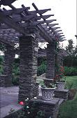 view [Beacon Ridge South]: pergola pillars and beams. digital asset: [Beacon Ridge South]: pergola pillars and beams.: 1999 Jun.