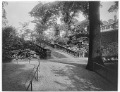 view [Princes Street Gardens]: stairs leading to the gardens. digital asset: [Princes Street Gardens] [glass negative]: stairs leading to the gardens.