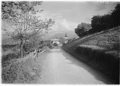 view [Miscellaneous Sites in Switzerland]: part of the village of Aeschi bei Spiez and its church. digital asset: [Miscellaneous Sites in Switzerland]: part of the village of Aeschi bei Spiez and its church.: 1906 Aug.