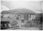 view [Miscellaneous Sites in Switzerland]: Spiez, with the Niesen, the mountain in the background. digital asset: [Miscellaneous Sites in Switzerland] [glass negatives] Spiez, with the Niesen, the mountain in the background.