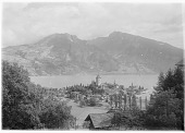 view [Miscellaneous Sites in Switzerland]: looking across the Thunersee from Spiez to the Ralligstock (left) and Niederhorn (right). digital asset: [Miscellaneous Sites in Switzerland] [glass negatives]: looking across the Thunersee from Spiez to the Ralligstock (left) and Niederhorn (right).