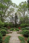 view [Craiglen]: formal garden with wide flagstone walkways and twin beeches at far end. digital asset: [Craiglen]: formal garden with wide flagstone walkways and twin beeches at far end.: 2002 Apr.