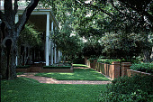 view [Ravenwood]: the house, with live oaks, crape myrtle, and formal plantings. digital asset: [Ravenwood]: the house, with live oaks, crape myrtle, and formal plantings.: 1999 Aug.