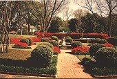 view [Ravenwood]: the main entrance to the house in spring, with azaleas in foreground. digital asset: [Ravenwood]: the main entrance to the house in spring, with azaleas in foreground.: 1999.