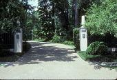 view [Rienzi]: entrance gate with obelisk gate posts. digital asset: [Rienzi]: entrance gate with obelisk gate posts.: 1985.