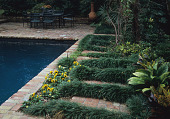view [Mimi's Garden]: brick-framed pool, garden furniture, outdoor fireplace and plantings designed in a rectangular pattern. digital asset: [Mimi's Garden]: brick-framed pool, garden furniture, outdoor fireplace and plantings designed in a rectangular pattern.: 2007 May.