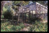 view [Ravine Garden]: the Camillia House (greenhouse) sits on a concrete cistern. digital asset: [Ravine Garden]: the Camillia House (greenhouse) sits on a concrete cistern.: 2008 Dec.