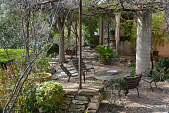 view [David-Peese Garden]: seating area with site-cast concrete columns and steel pipes support a vine covered arbor. digital asset: [David-Peese Garden]: seating area with site-cast concrete columns and steel pipes support a vine covered arbor.: 2013 Mar.