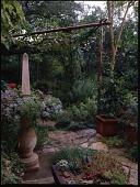 view [David-Peese Garden]: miniature obelisk and arbor. digital asset: [David-Peese Garden] [transparency]: miniature obelisk and arbor.