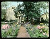 view [Reveille]: walkway and flowerbeds. digital asset: [Reveille]: walkway and flowerbeds.: [between 1914 and 1949?]
