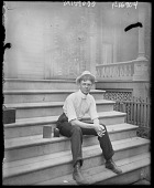 view [Miscellaneous Images in Virginia]: unidentified teenage boy on steps with camera. digital asset: [Miscellaneous Images in Virginia] [negative]: unidentified teenage boy on steps with camera.