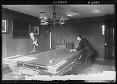 view [Miscellaneous Images in Virginia]: an unidentified interior view showing two men playing billiards. digital asset: [Miscellaneous Images in Virginia] [glass negative]: an unidentified interior view showing two men playing billiards.