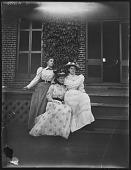 view [Pelham]: three women at porch. digital asset: [Pelham] [glass negative]: three women at porch.