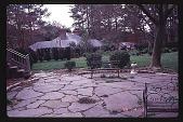 view [Cedarcroft]: view of bluestone patio, looking southwest (spring). digital asset: [Cedarcroft]: view of bluestone patio, looking southwest (spring).: 1999 Apr.