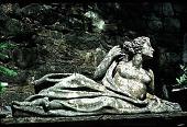 view [Glebelands]: reclining lady sculpture on dam. digital asset: [Glebelands]: reclining lady sculpture on dam.: 1988.