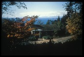 view [Miller Garden]: view of the house overlooking the Puget Sound. digital asset: [Miller Garden]: view of the house overlooking the Puget Sound.: ca. 1987.