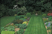 view [Halewood]: perennial garden flanked by lawn in May--north side of house. digital asset: [Halewood]: perennial garden flanked by lawn in May--north side of house.: 2001 May.