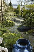 view [Green Garden]: the tropical garden and patio downhill from the rhododendron collection, and the view of Lake Washington. digital asset: [Green Garden]: the tropical garden and patio downhill from the rhododendron collection, and the view of Lake Washington.: 2016 Apr.