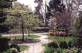 view [Tatterdemalion]: the focal point of the Edwardian strolling garden: the weeping crab in the center circle. digital asset: [Tatterdemalion]: the focal point of the Edwardian strolling garden: the weeping crab in the center circle.: 1997 May.