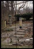 view [Homewood]: a terraced garden path features rockwork and bird feeders. digital asset: [Homewood]: a terraced garden path features rockwork and bird feeders.: 2004 Apr.