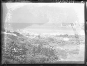 view [Unidentified Seascape]: ocean, lighthouses and house digital asset: [Unidentified Seascape]: ocean, lighthouses and house.: [1920?]