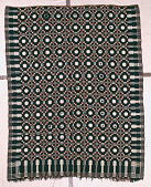 "view ""Single Snowball and Pine Tree"" coverlet; geometric double-cloth; 19th century digital asset number 1"