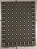 "view ""Washington Beauty"" Geometric Double-cloth Coverlet; 1800-1850 digital asset: Blue and white double-woven coverlet in a geometric design."