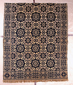 view coverlet; Figured and Fancy, tied-Beiderwand; c. 1840-1850; New York digital asset number 1